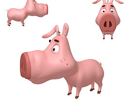 3D farm Pig Cartoon