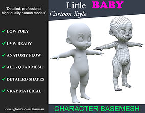 Low poly Cartoon Baby Basemesh 001 - 190709 3D asset