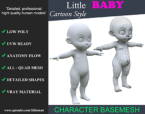 Low poly Cartoon Baby Basemesh 001 - 190709 3D asset