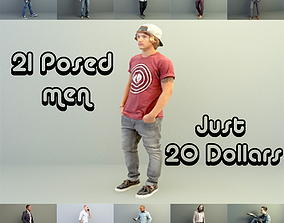 Lowpoly 3d scanned Posed Men realtime
