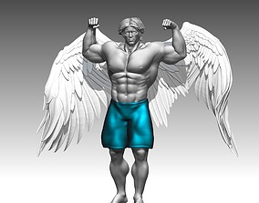 Bodybuilder Man statue angel stand poses 3D print 3D