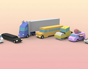 3D model Low Poly Utility Vehicles