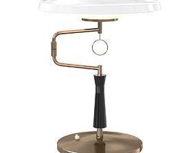 3D Enameled Metal and Satin Glass Table Lamp for Fontana
