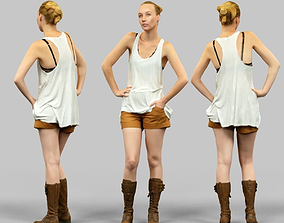 3D asset Girl in white top and beige shorts