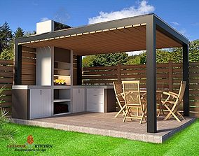 rigged furniture outdoor kitchen barbecue 3D model