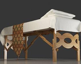 3D model Retro wooden built-in massage bed