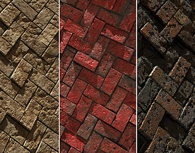 Herringbone Bricks Game Textures 3D asset