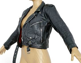 3D model Jacket Moto Black Leather Open Women Men Clothing