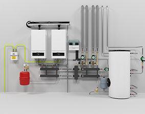Boilers Buderus GB062-24 cascade heating instalation 3D
