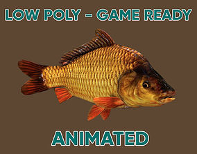 3D model Low poly Carp Fish Animated - Game Ready