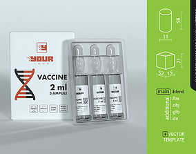 Package of ampoules 3 pieces of 2 ml each 3D model