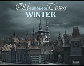 Old European Town Winter 3D model