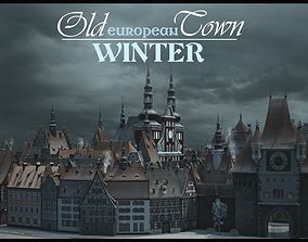 3D asset Old European Town Winter