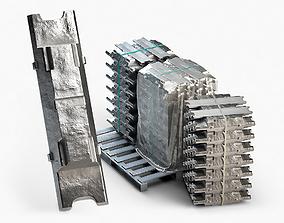 3D model Aluminium Zinc Nickel Silver Titan Steel ingot 4