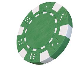 las Casino chip 3D model green poker chip