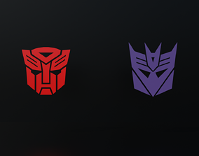 Autobot and Decepticon Logos Pack 1 3D model