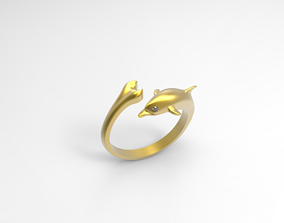 Dolphin jewelry ring 3D print model