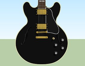 Guitar - Gibson ES Hollow Body - Black Finish 3D