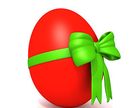 Red egg with bow 3D model