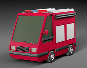 3D asset Cartoon Fire engine