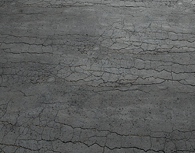 3D model Cracked asphalt scan 45