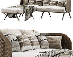 3D model Victoria wooden rattan sofa VA30 with chaise