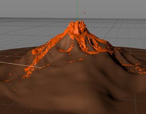 3D model Fast Scale Valcano Lava Simulation