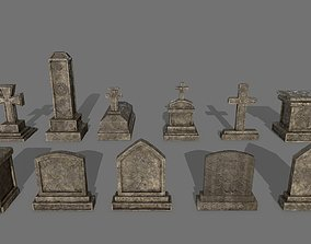 Tombstone set 3D asset low-poly