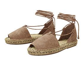 3D model Lace up Espadrilles Alma Taupe Sandals