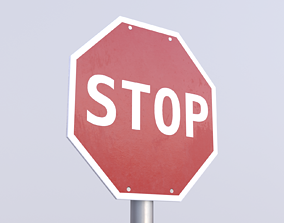 3D model Game-ready Stop sign clean Unity Unreal Engine