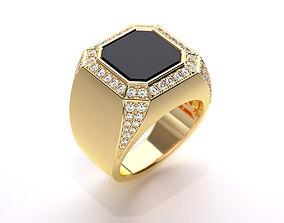 Mens ring with black onyx 020 3D print model
