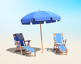 Beach Chairs Set With Umbrella 3D asset game-ready