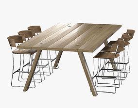 3D scandinavian Bar table and Chair