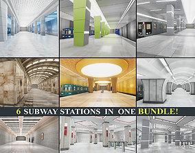 3D asset Subway Stations Bundle
