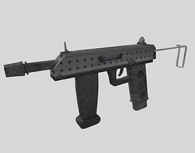 no brand low poly submachine gun 2 3D asset