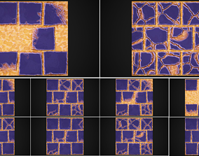 Stylized stones and sand 4k tile texture 10 variants 3D