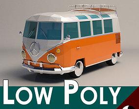 Low-Poly Cartoon VW Transporter Bus 3D asset