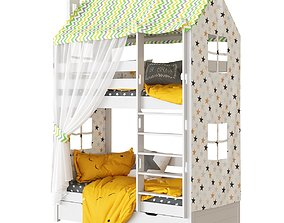 Childrens bed 2 tiered house Madrid Set 2 3D model