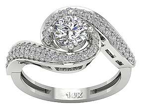 silver Fancy Woman Diomand Ring 3d Model Print