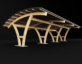 Wooden carport 2 3D model