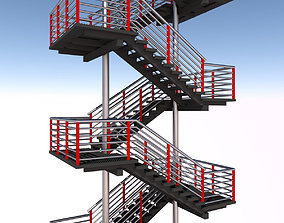 3D Fire escape metal stairs