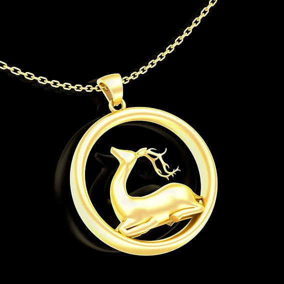 Deer Figurine Sculpture Pendant jewelry Gold 3D print model