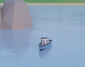 3D asset Low Poly Fishing Boat