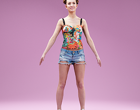 A Pose Girl in Jeans Shorts White Sneakers and 3D model 1