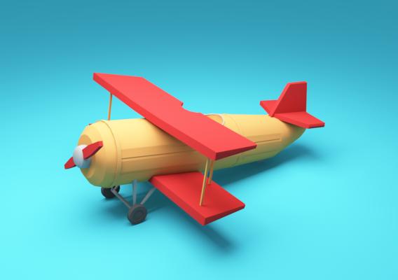 low-poly cartoon plane