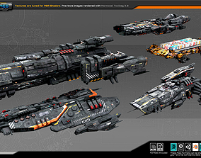 Spaceships Vol-10 3D model game-ready