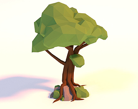 3D asset animated Low-poly Tree