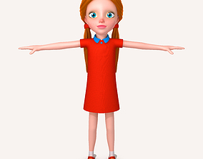 3D model Little girl cartoon