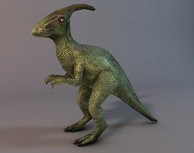 Low poly dinosaur Parasaurolophus 3D asset