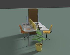 Low Poly Cartoony Office Desk 2 3D asset